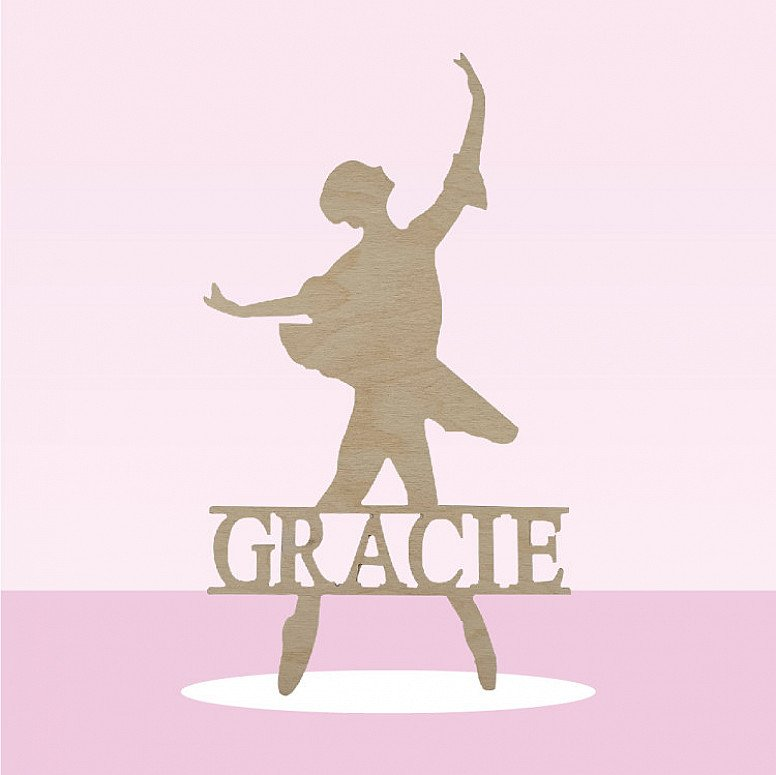 Save 50% - Personalised ballerina name signs made from wood painted to colour off your choice