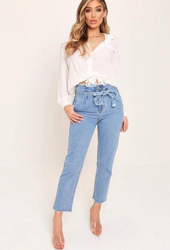 75% off everything - Mid Wash High Waist Paper Bag Boyfriend Jeans!