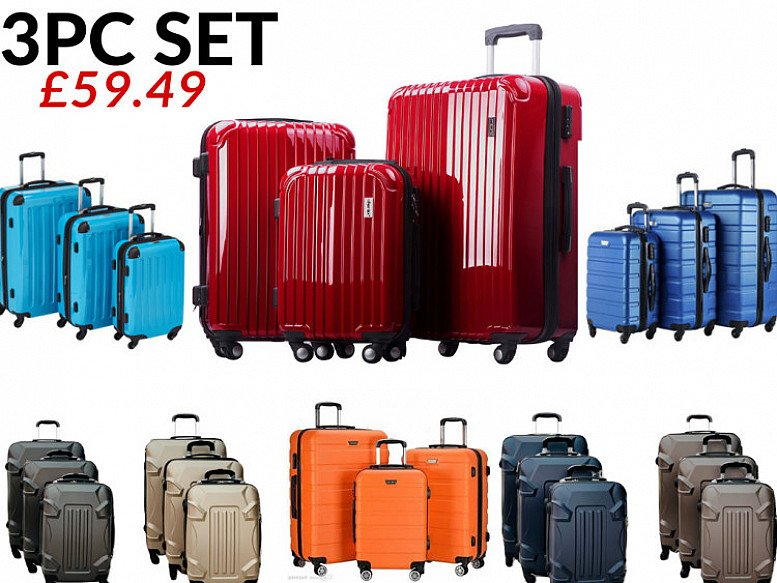 Suitcase 3pc Hard Shell Trolley 4 Wheel Set of 3 £59.49