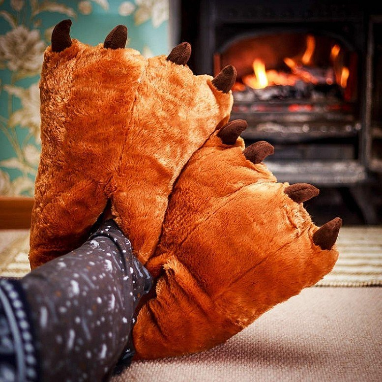 Bear Slippers - One Size - Fits all for adults - 42cm Long RRP £25, Now Only £9.99!