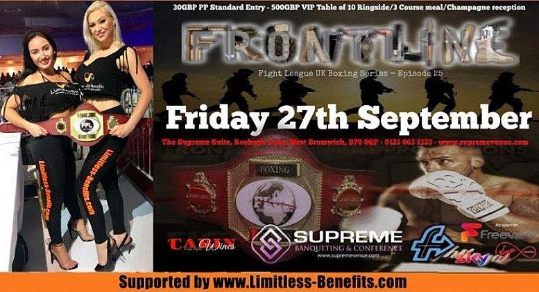 win 2 free tickets to Front line Championship boxing supported by Limitless Benefits Ring Girls