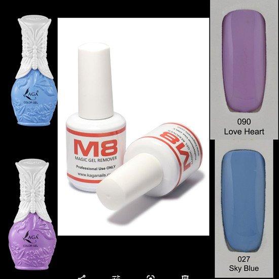 Buy kaga nail gel sky blue & love heart and receive M8 nail gel remover free