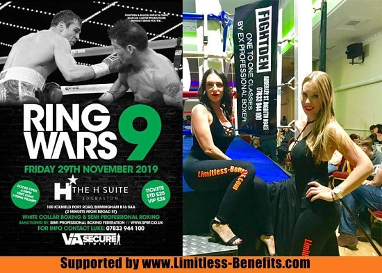 Win tickets to Ring Wars 9 Birmingham boxing supported by Limitless Benefits Ring Girls