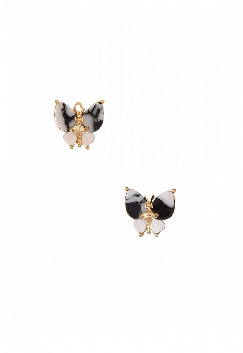 SALE on Vivienne Westwood Black + Gold Butterfly Earrings!