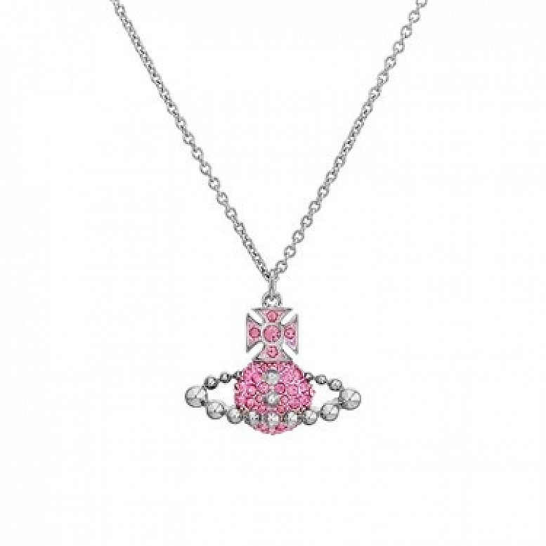 SALE on Vivienne Westwood Lena Silver + Pink Small Bas Relief Necklace!