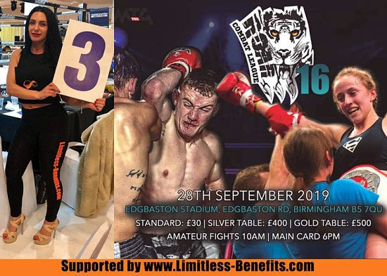win 2 tickets to Roar Combat 16 Birmingham supported by limitless Benefits Ring Girls