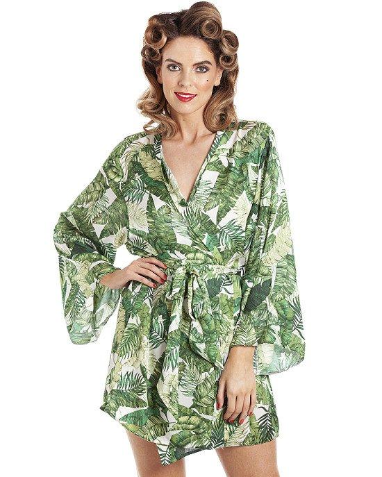 Riviera Tropical Kimono Rain Forest Fern Green