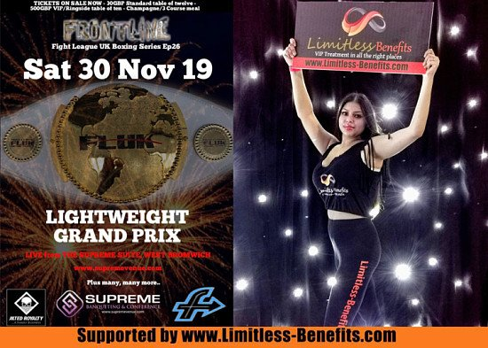 win 2 free tickets to Lightweight Grand Prix boxing supported by Limitless Benefits Ring Girls
