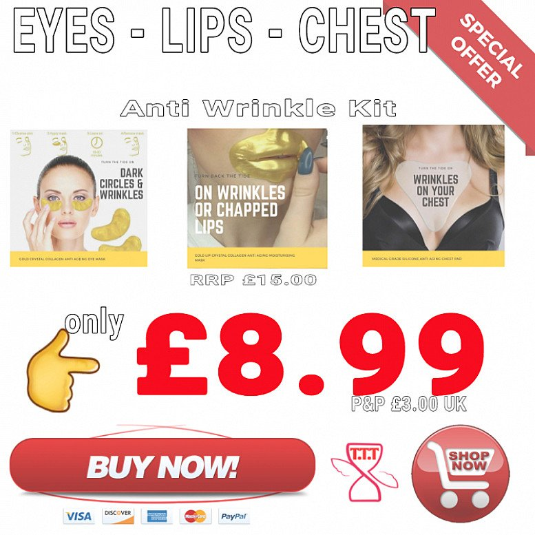 Save 40% on this Eyes, Lips & Chest Anti Ageing Wrinkle Home Treatment Kit