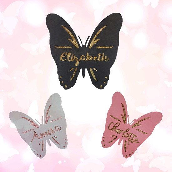 Personalised butterfly name signs