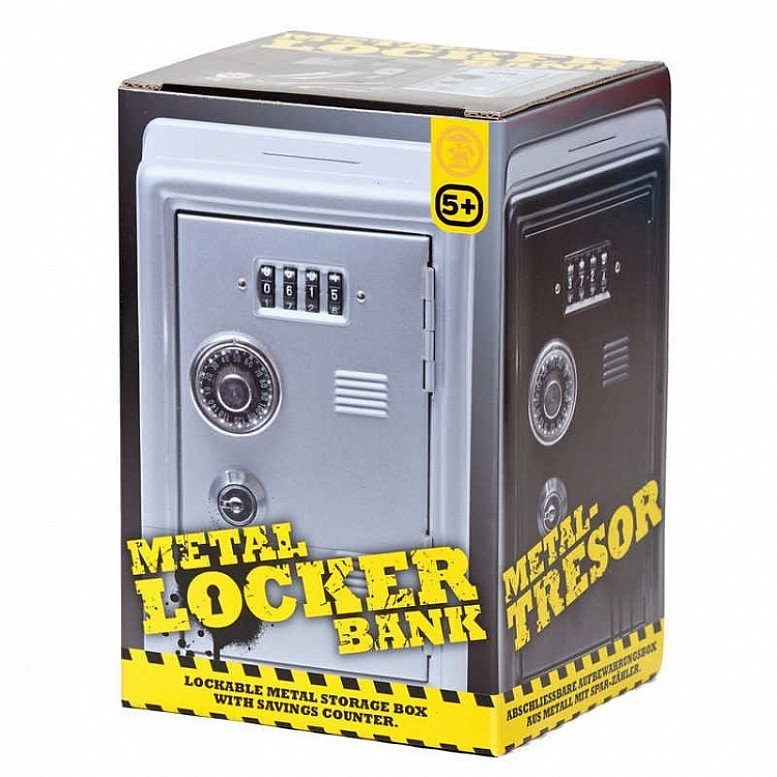 Metal Locker Bank - Silver - Drop your coins into the belly of this metal locker bank - Only £22!
