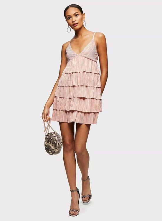 Up to 60% off sale - Pink Rara Strappy Plisse Dress!