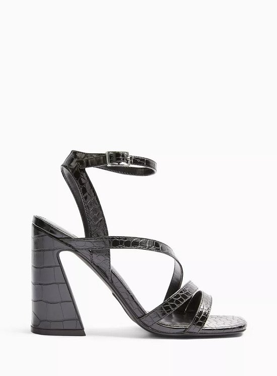 SALE - SOLO Black Flared Heel Strappy Sandals