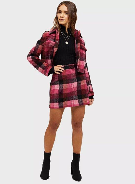 SALE - PETITE Pink Check Skirt