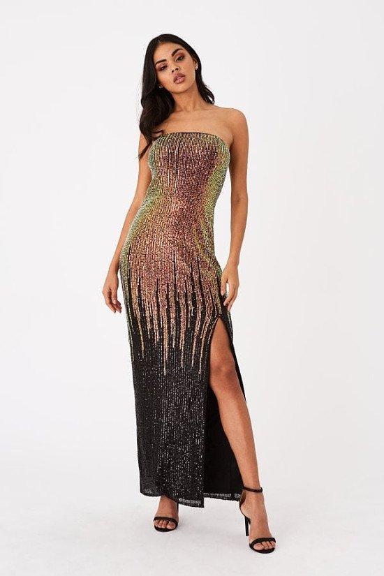 Up to 80% off NYE Dresses - LITTLE MISTRESS ROKA GOLD SEQUIN OMBRE BANDEAU MAXI DRESS
