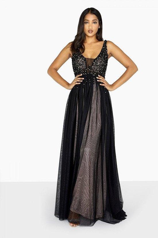 SALE - LITTLE MISTRESS BLACK TULLE MAXI DRESS