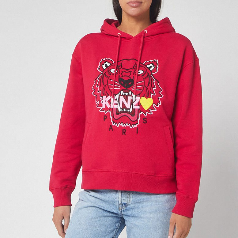 SAVE £92.00 - KENZO Women's Tiger Hoody Back from Holiday - Deep Fuschia
