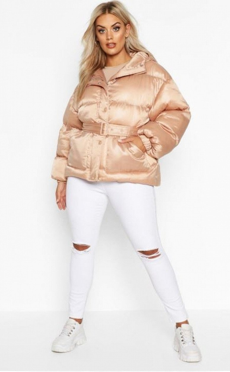 46% OFF - Plus Satin Look Belted Funnel Neck Puffer Jacket