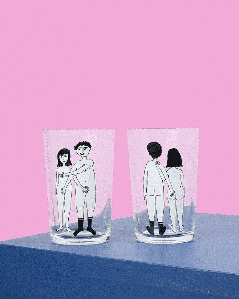 Valentine's Day Gift Idea - Helen B Naked Couple Glasses Set