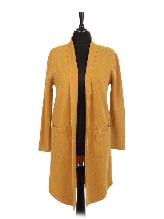 Ladies Italian knitted jacket in mustard