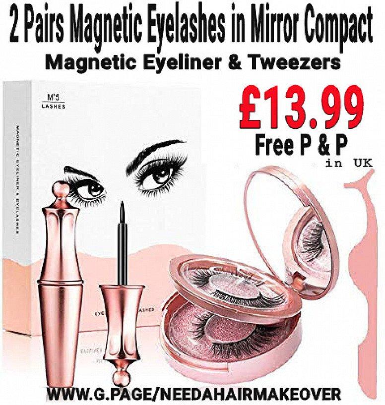 2 Pairs Magnetic Eyelashes, Eyeliner in Compact