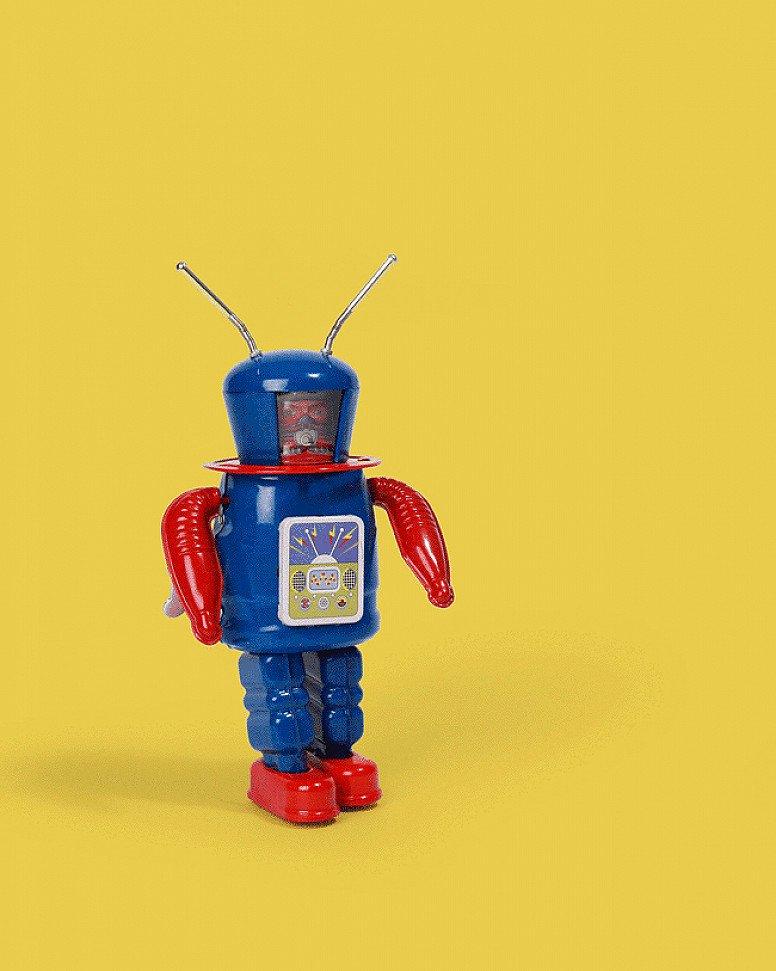 We love the vintage style toys: Astronaut Explorer Tin Toy - £24.99!