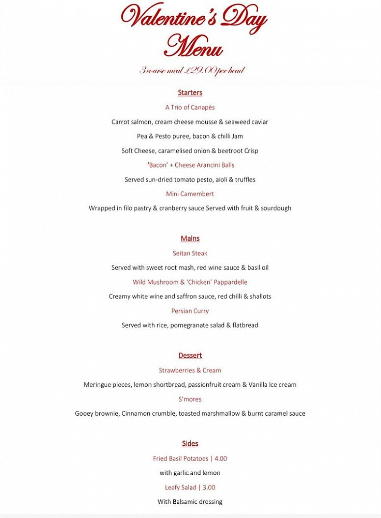 3 Course Valentines Menu - Carefully crafted by our talented kitchen team: £29pp!