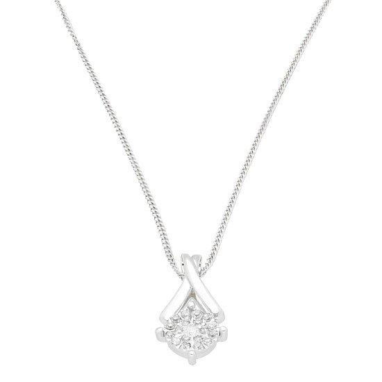 9Carat White Gold 0.10ct Diamond Cluster Pendant (8x15mm) w/ 16″ Curb Chain - £99.00!