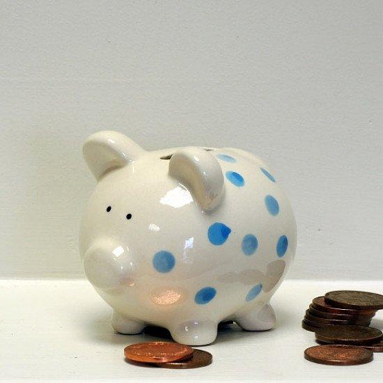 BLUE SPOTTY PIGGY BANK - £7.99!
