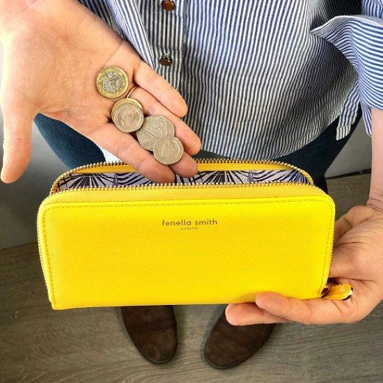 FENELLA SMITH VEGAN LEATHER YELLOW PURSE - £29.99!