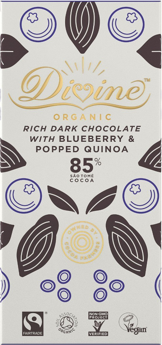 Organic Vegan Fairtrade 85% Dark Chocolate with Quinoa & Blueberry - £2.99!