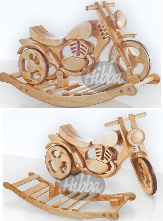 Wooden rocking and ride on bike