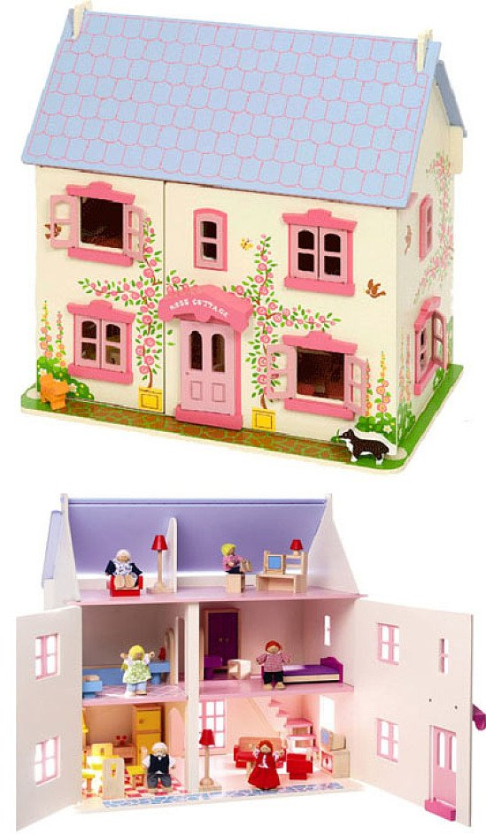 Rosebud Cottage Dolls House with Furniture
