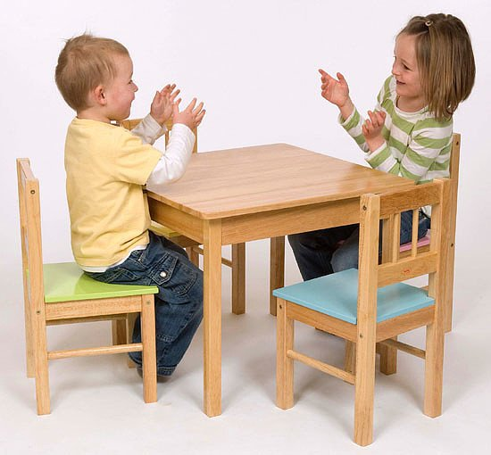Natural Wood Table & 4 Pastel chairs