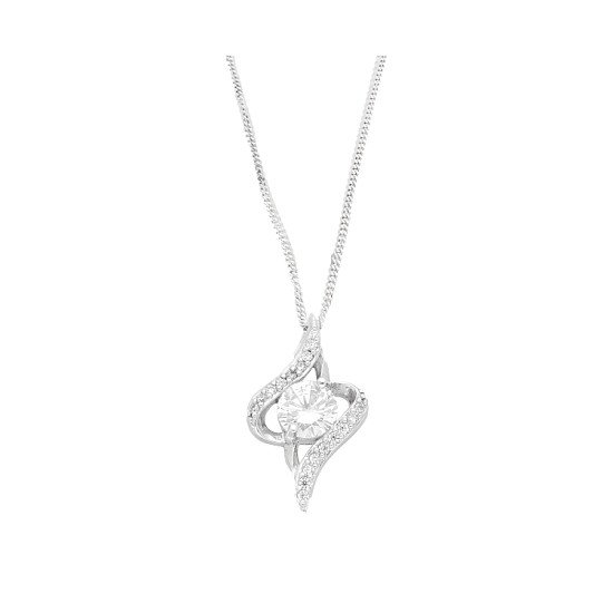 Sterling Silver Simulated Diamond Fancy Pendant (12x20mm) w/ 18″ Curb Chain - £19.99!