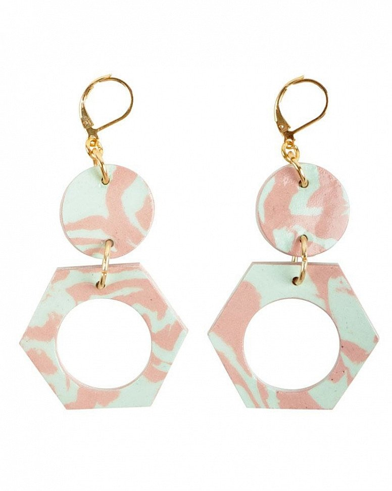 SAVE- Aliyah Hussain Porcelain Hexagon & Circle Earrings