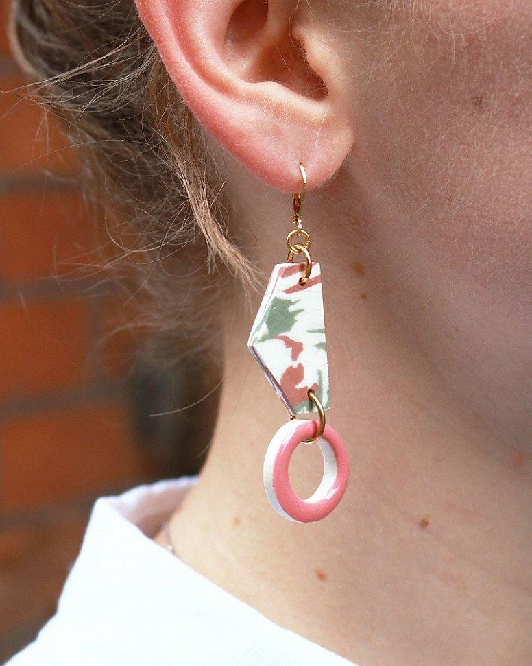 SAVE- Aliyah Hussain Porcelain Hoop and Geo Earrings