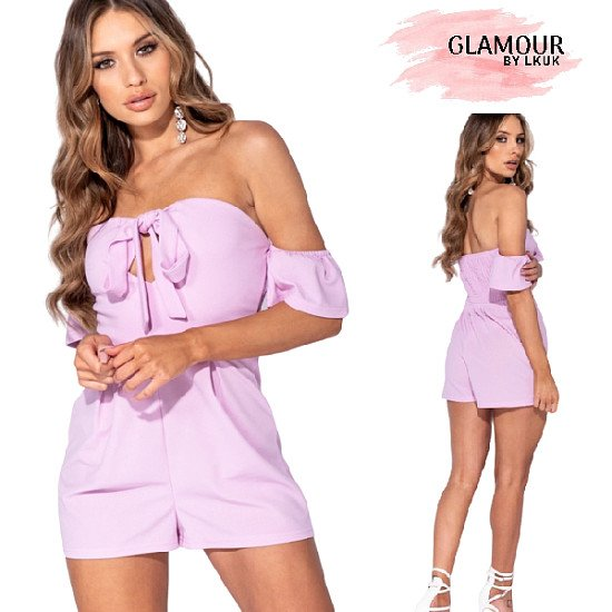 Bardot Tie Front Playsuit – Lilac