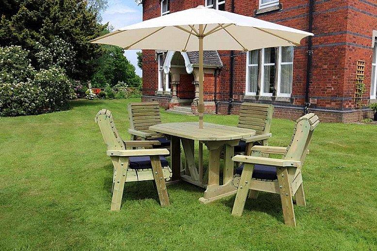 Ergonomic Oval Table Set – 4 Seater
