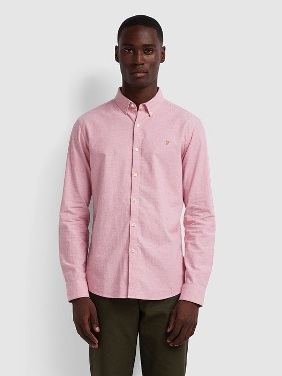 NEW IN - Steen Slim Fit Brushed Cotton Oxford Shirt In Dusty Rose Regular: £65.00!