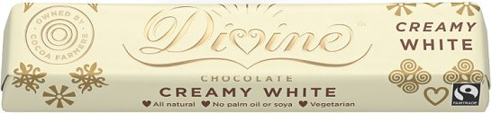 Farmers receive 44% of the profits - Pack of 3 Divine White Chocolate Small Bar £3.27!