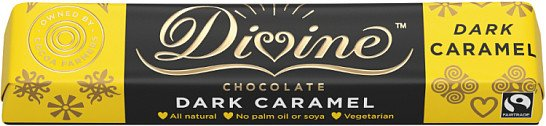 Farmers receive 44% of the profits - Pack of 3 Divine Caramel Dark Chocolate Small Bar £3.27!