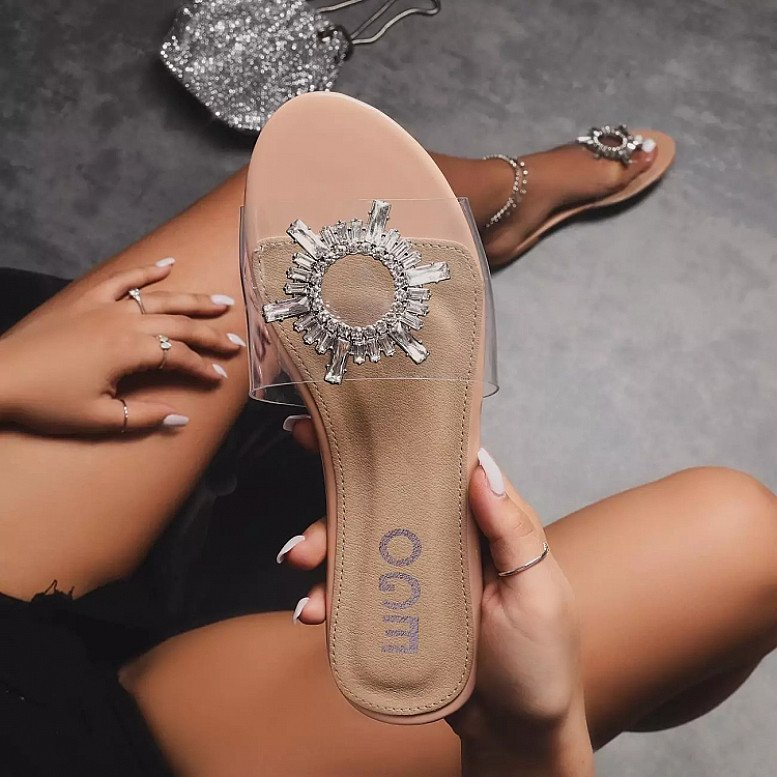 SALE - Darling Diamante Detail Flat Sandal In Nude Patent