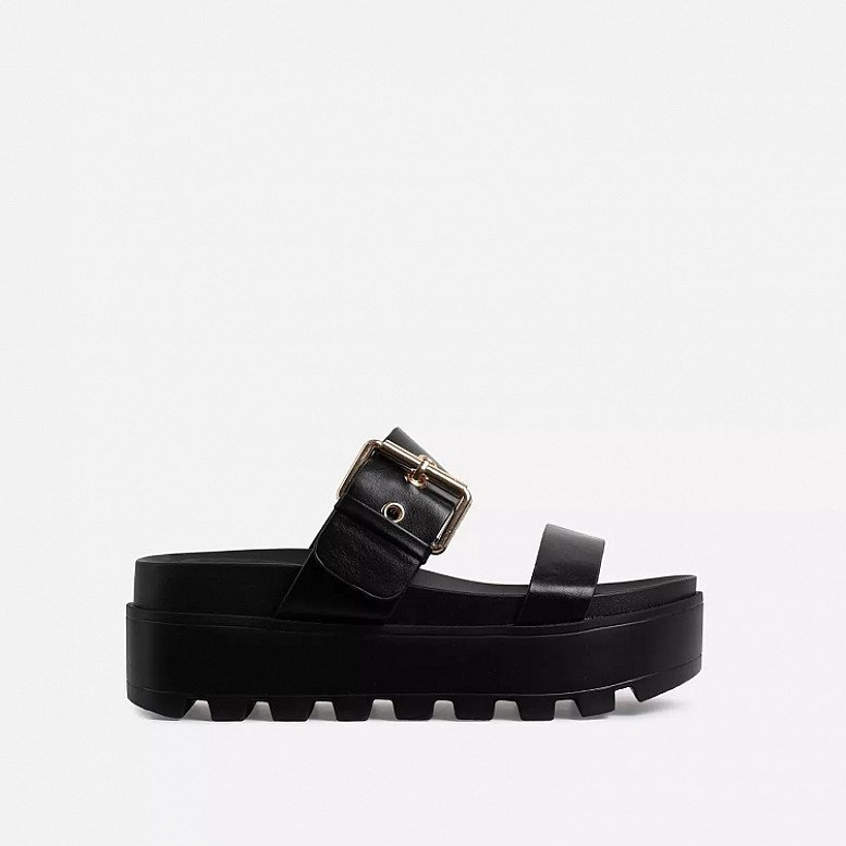 SALE - Aliki Chunky Sole Buckle Detail Sandal In Black Faux Leather!