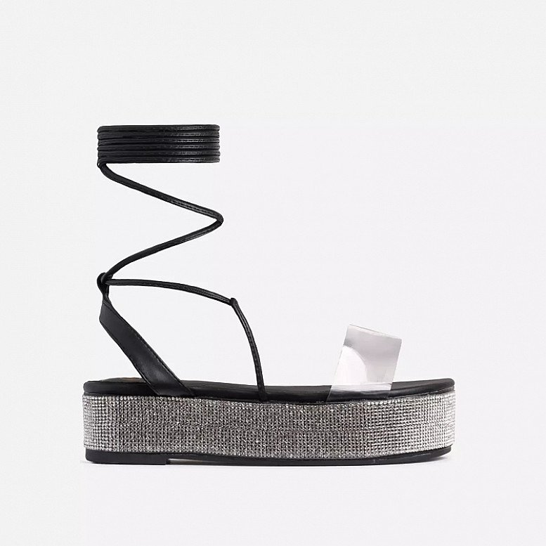SALE - Lola Diamanate Detail Clear Perspex Lace Up Flatform Flat Sandal In Black Faux Leather!