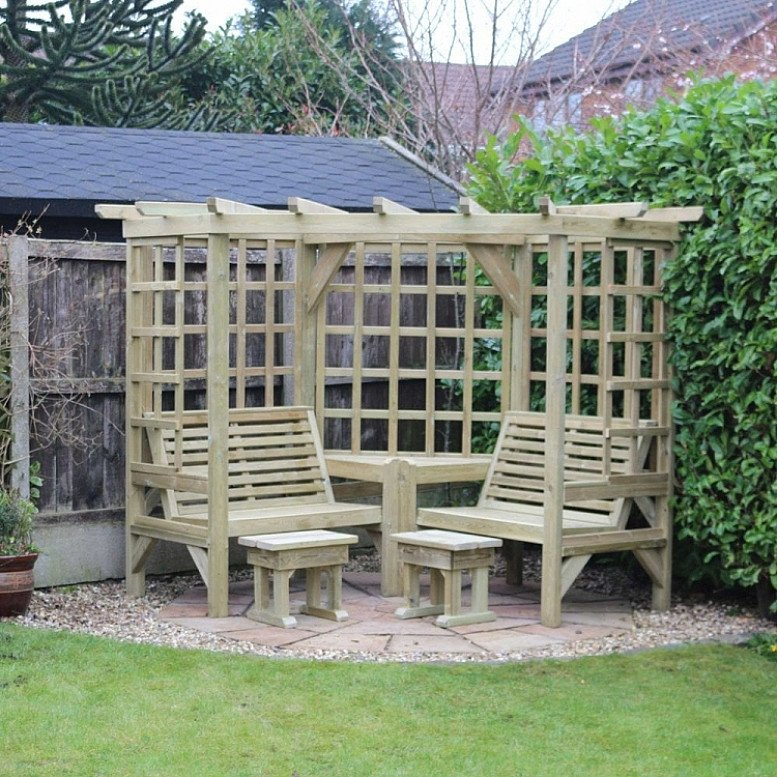 Clementine Corner 4-Seat Garden Arbour – (CR101)