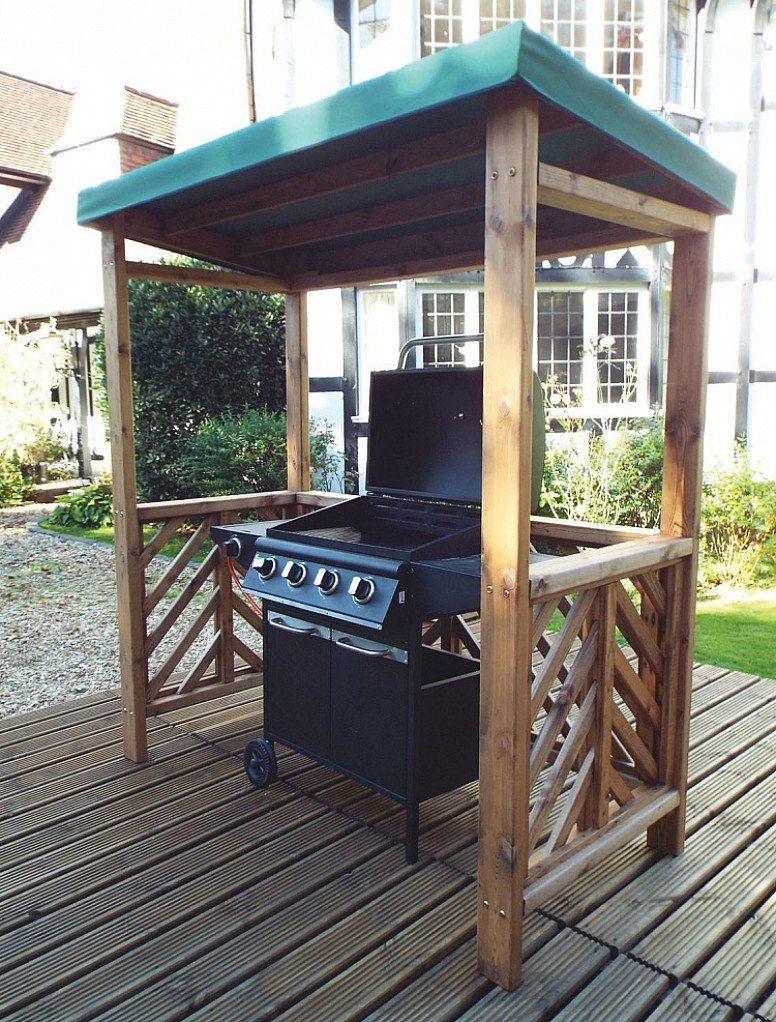 Dorchester Garden BBQ Shelter Green Roof Cover – HB137G