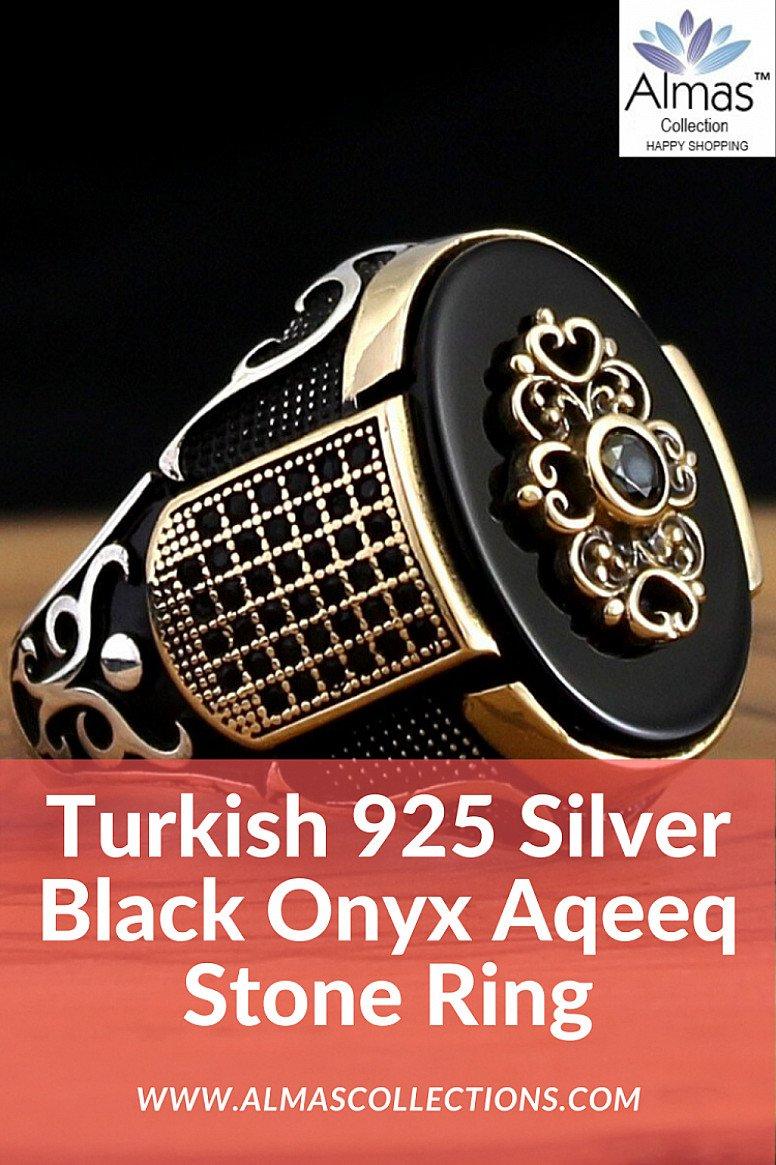 New Turkish 925 Silver Black Onyx Aqeeq Stone Ring
