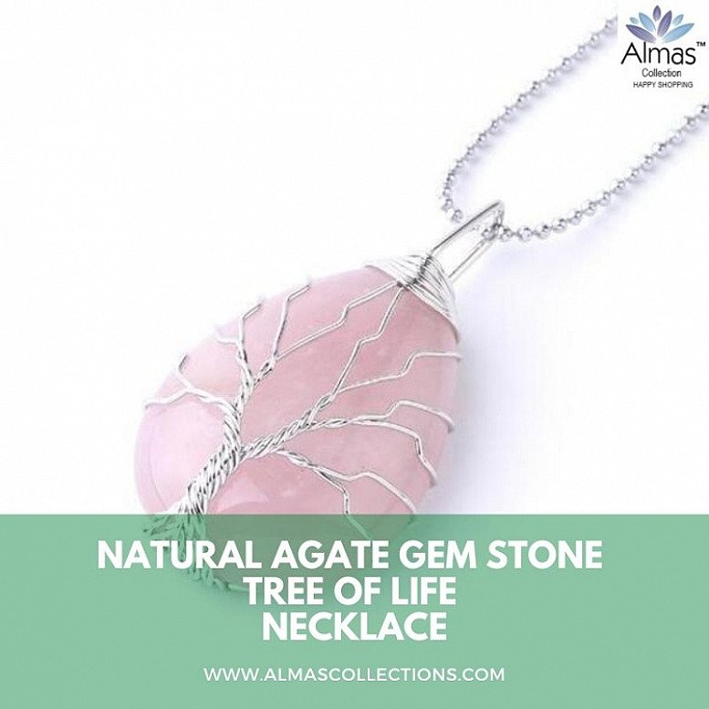 Natural Gem Stone Tree of Life Water Necklace