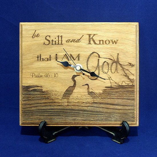 Laser Engraved Wooden Clock - Psalm 46:10 - Be Still and Know